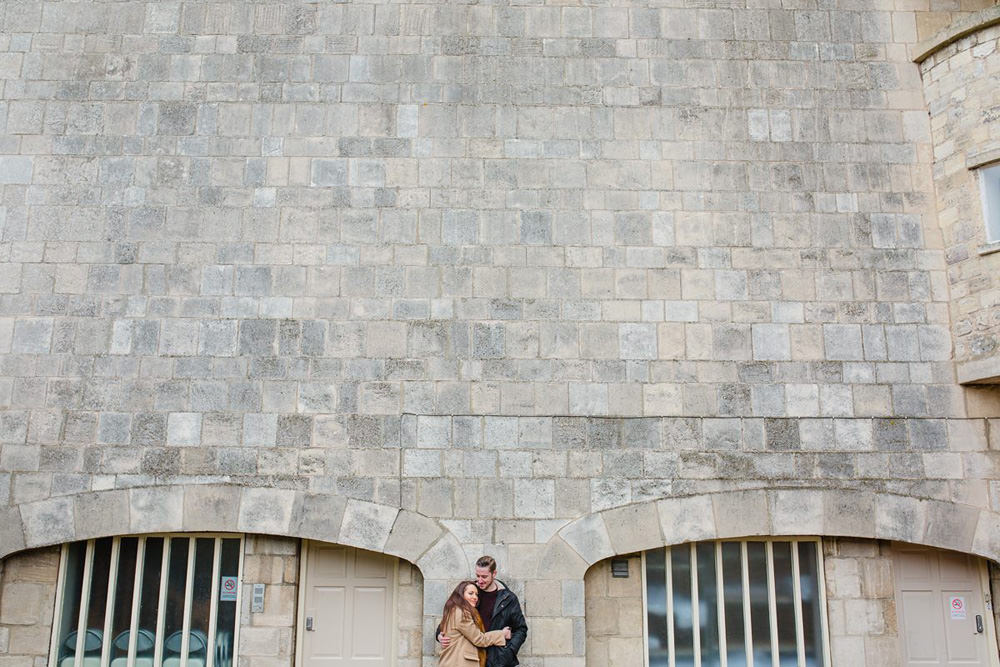 modern and fresh portrait against the stone wall at hazelwood castle