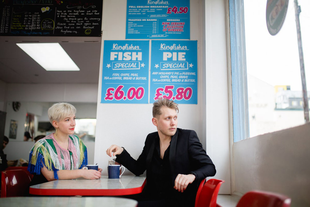 fun and creative portrait photography taken in vintage fish and chip shop in the northern quarter manchester