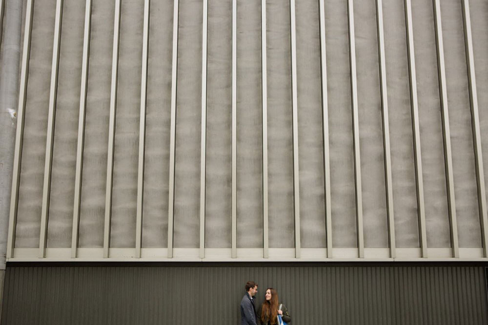 wide and modern photo of couple against the bank of the south bank centre wedding