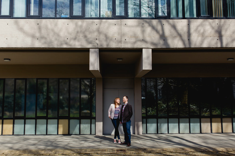 Portrait of couple in leeds city centre brutalist building