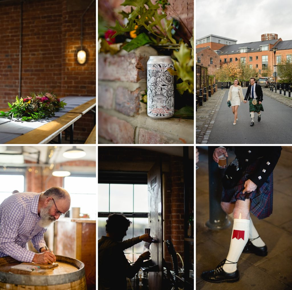 northern monk wedding photography details custom can, flowers, and Scottish kilts