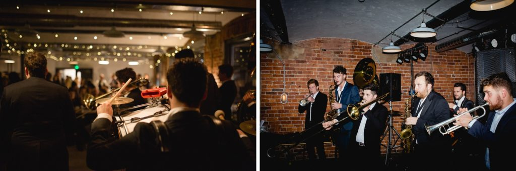 hyde park brass band playing northern monk brewery wedding venue leeds
