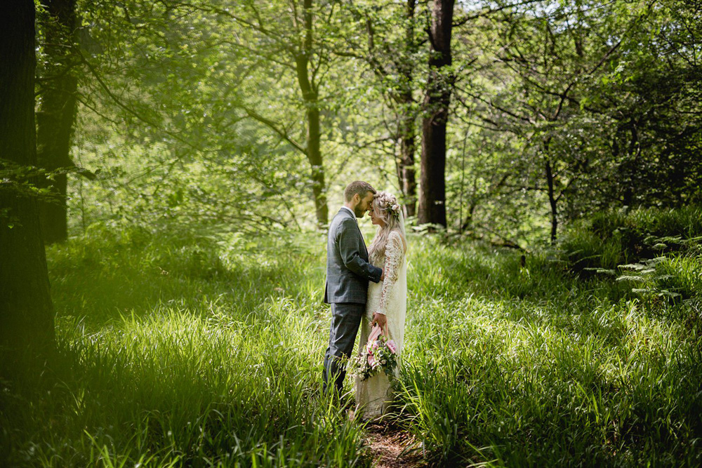 Portrait of outdoor wedding at Gibson mill wedding venue hardcastle crags