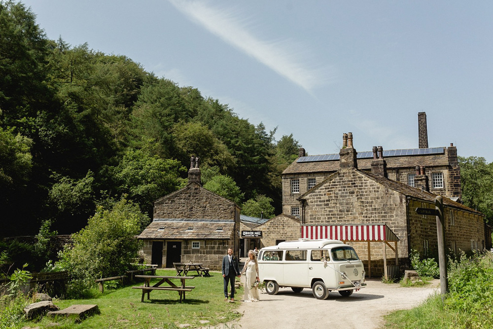 Boho wedding at Gibson Mill with vintage vw camper