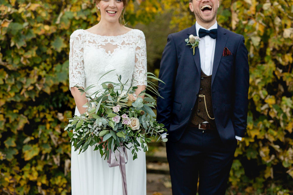 Portraits details of cool and stylish wedding couple in york