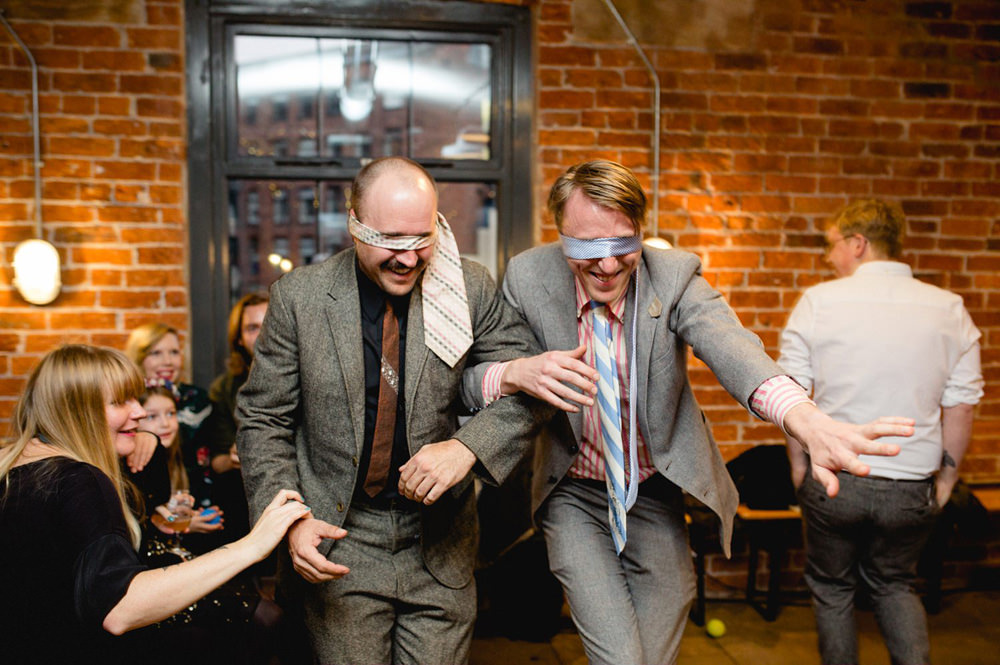 fun and games at creative wedding reception in leeds