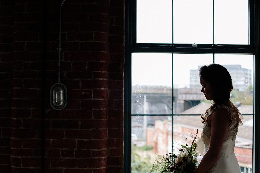 creative and natural bridal portrait at northern monk refectory wedding