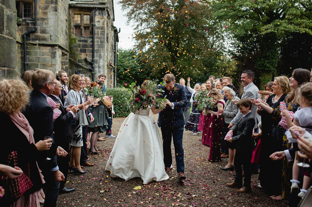 confetti documentary photo in the Gardens at Oakwell Hall