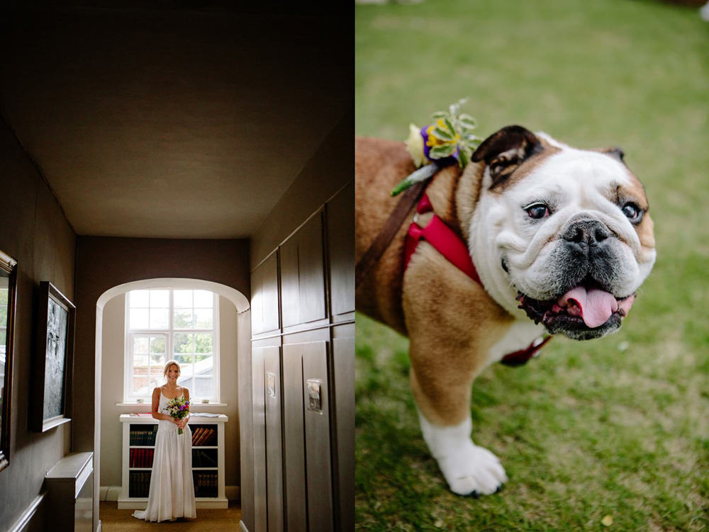 bride walking down the stairs at talton lodge and brides made bulldog