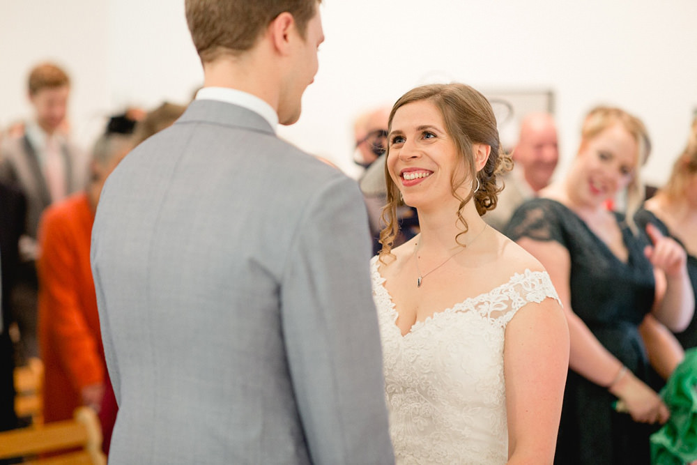 wedding ceremony held inside the gallery space at the hepworth wakefield