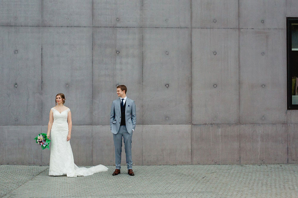 couple portraits outside of the the hepworth wakefield wedding venue