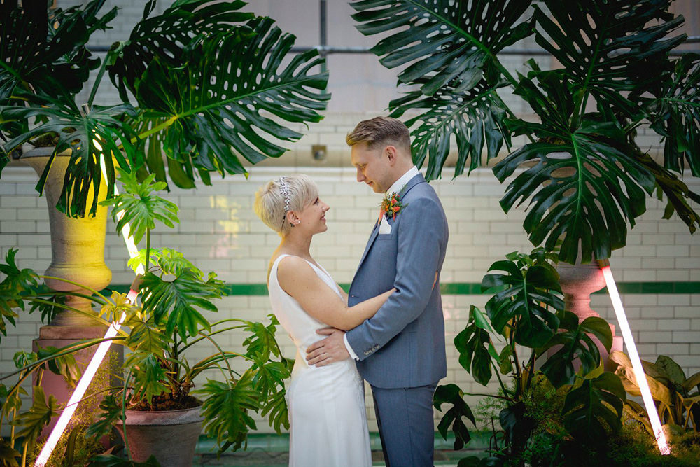 creative and modern portrait of couple at Victoria Baths wedding venue manchester