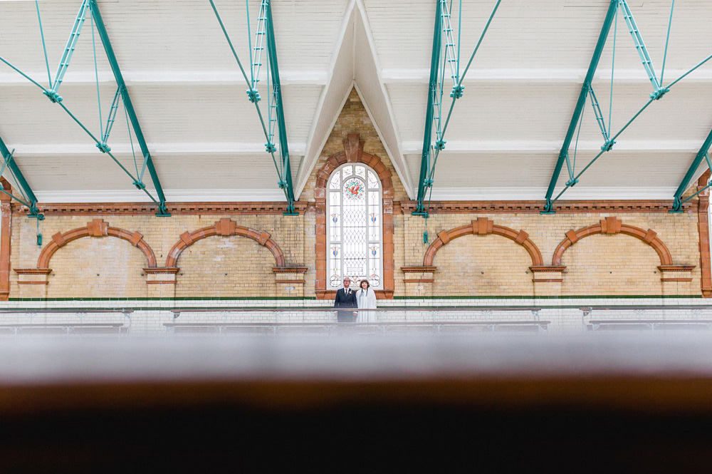 creative and modern wedding photography portrait of couple at Victoria Baths wedding venue manchester