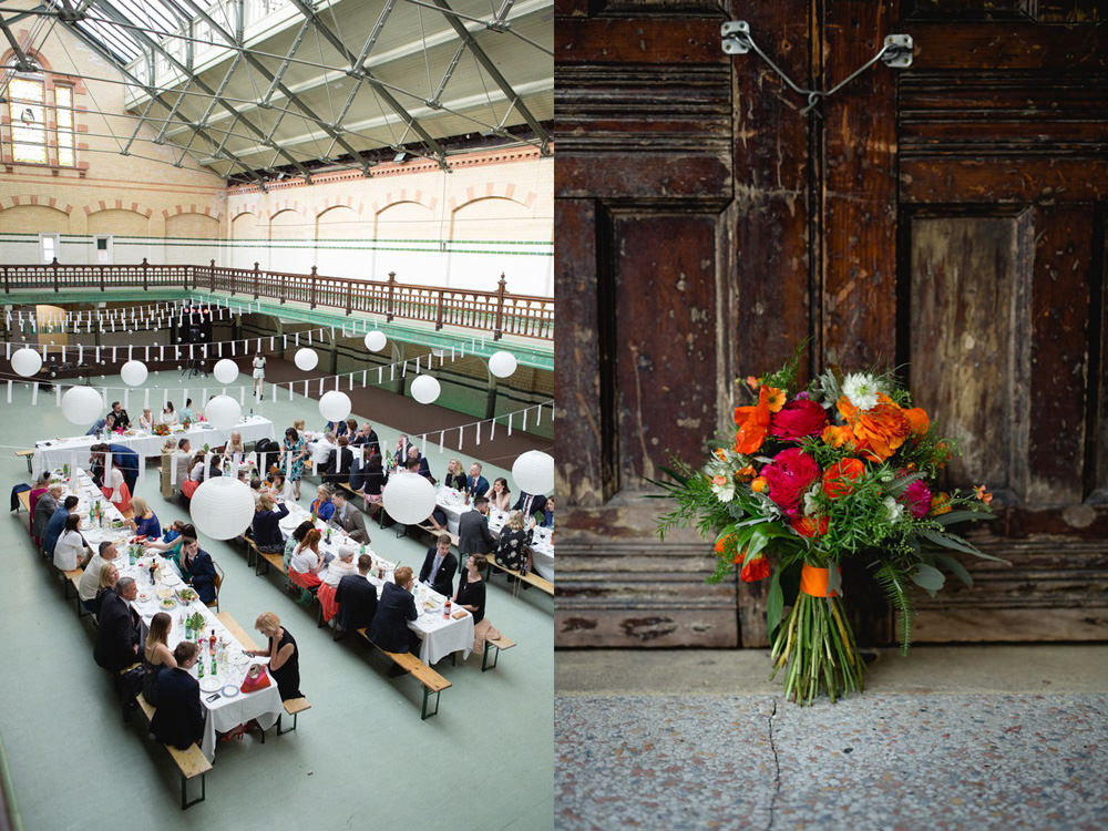 frog flowers wedding bouquet and table layout at Victoria Baths manchester