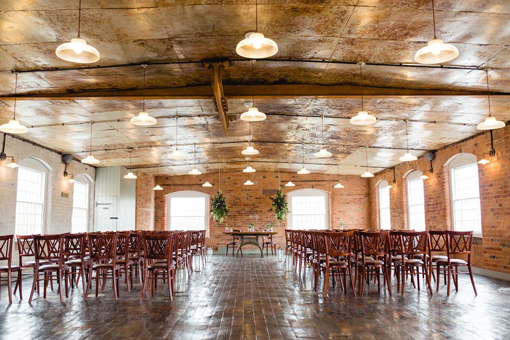 ceremony room layout at old mill wedding venue
