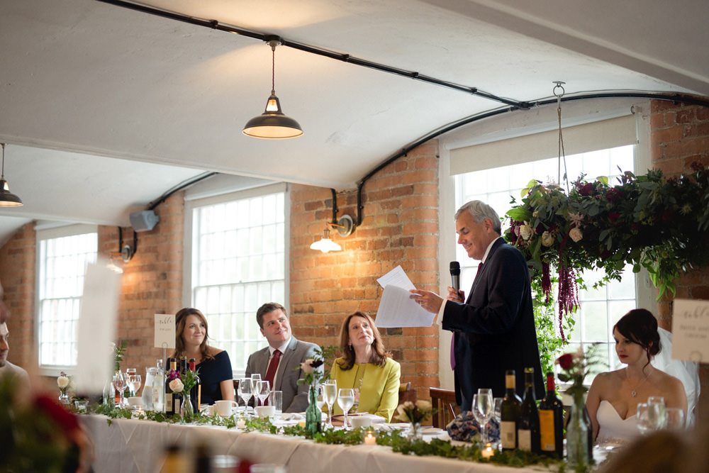 Father of the bride speech in old mill wedding venue derby