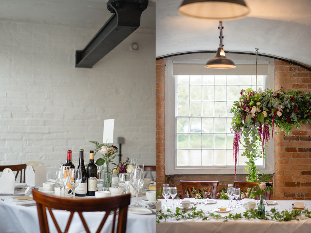 table styling details at west mill wedding venue derby