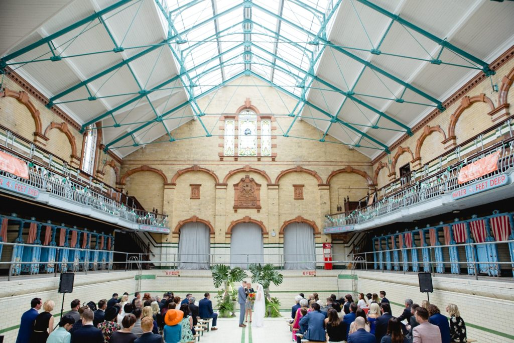 Bride and Groom in swimming baths wedding venue manchester