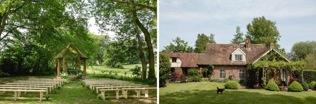 Location photos of outdoor garden wedding kent