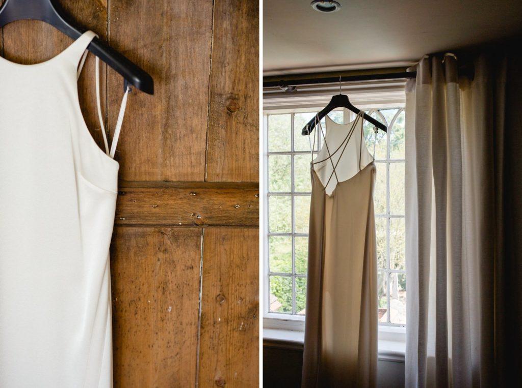 Net-a-Porter wedding dress hung up at home