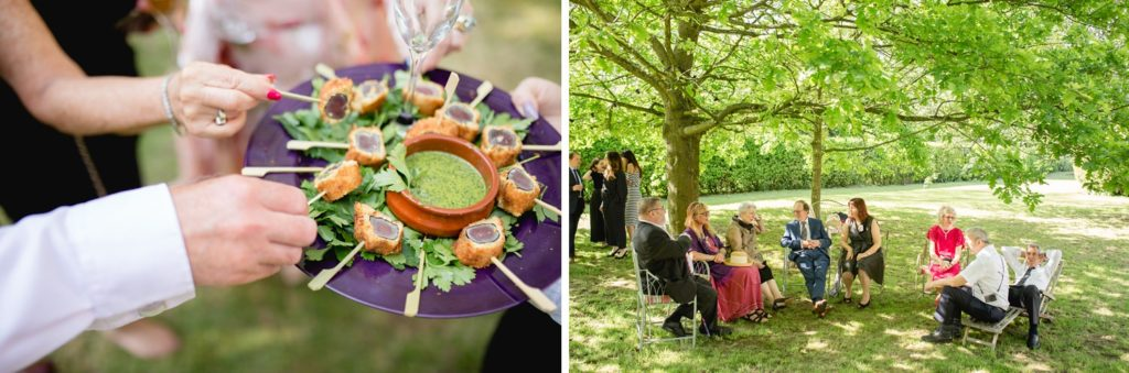 wedding guests relaxing in garden in kent and canapés being served
