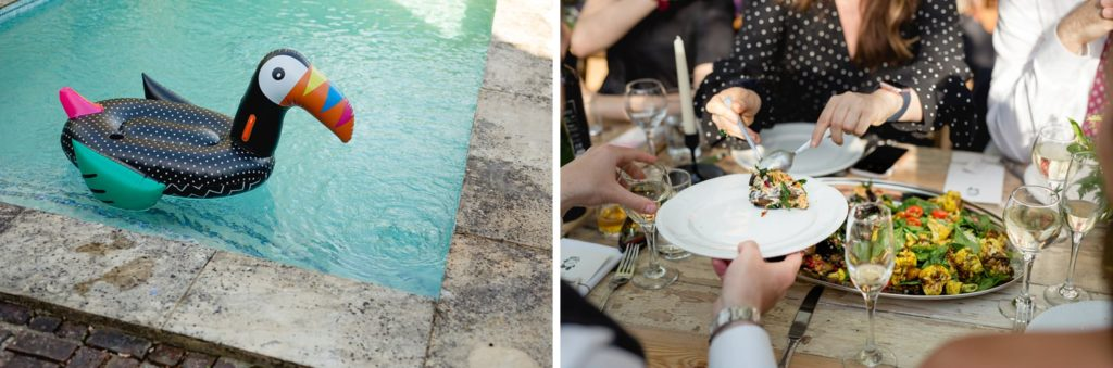 fun wedding details the swimming pool and food being served