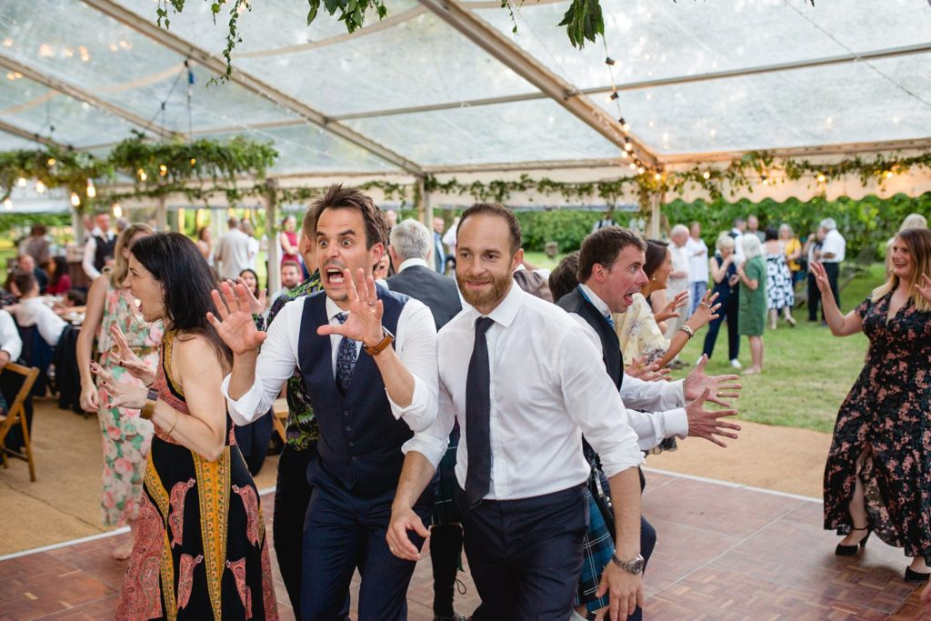 outdoors garden wedding Ceilidh dance in kent