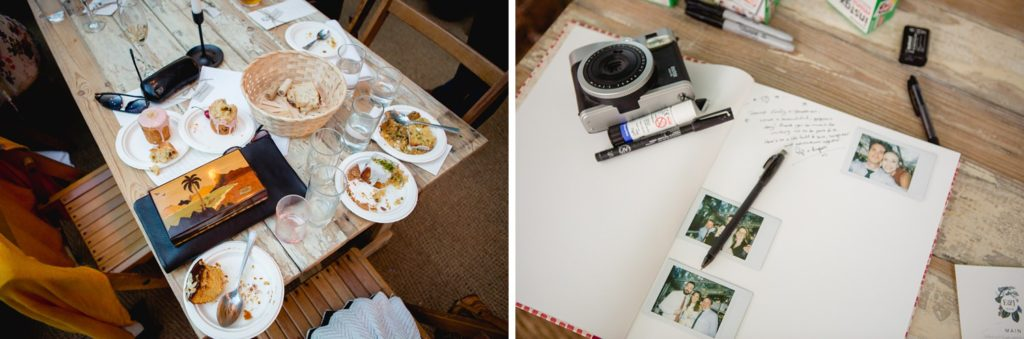 fun documentary wedding photos of left over food and instax camera book