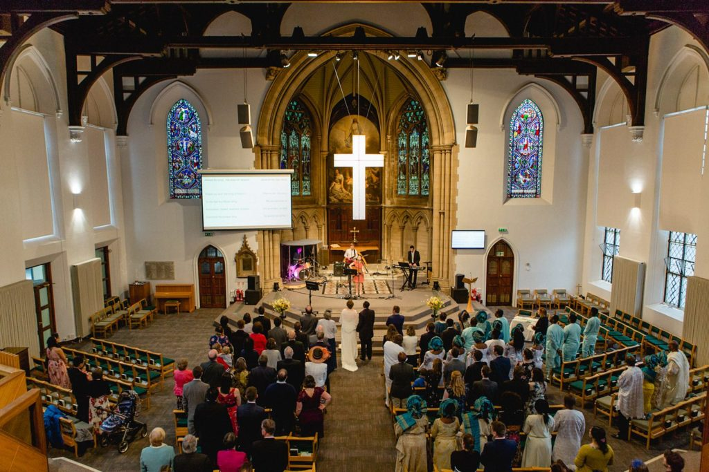 wide view of a wedding at St George's Church Leeds
