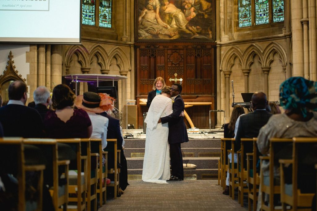 just after first kiss with couple St George's Church Leeds