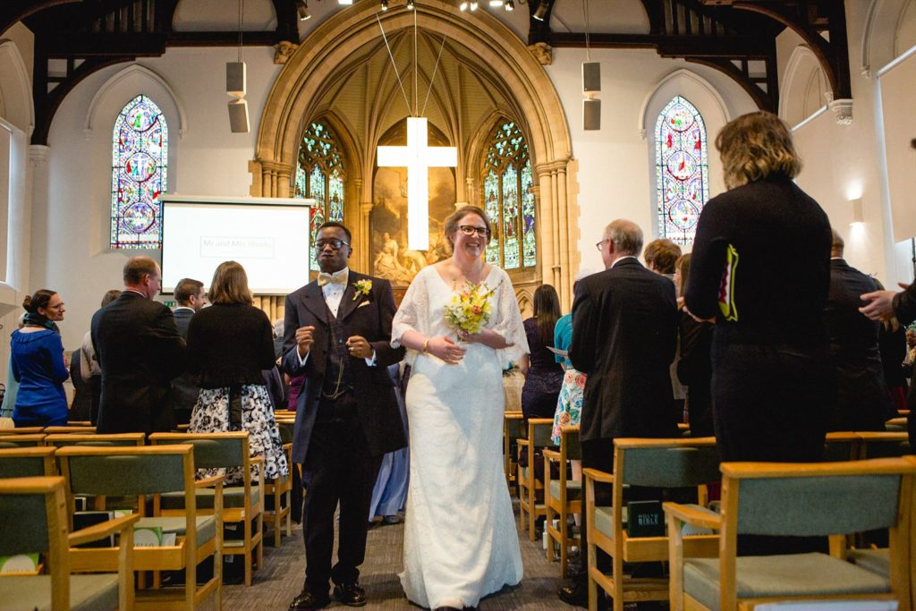 dancing back down the aisle at St George's Church Leeds