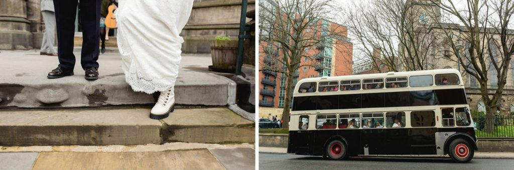 cool bride in white doc martins and vintage bus