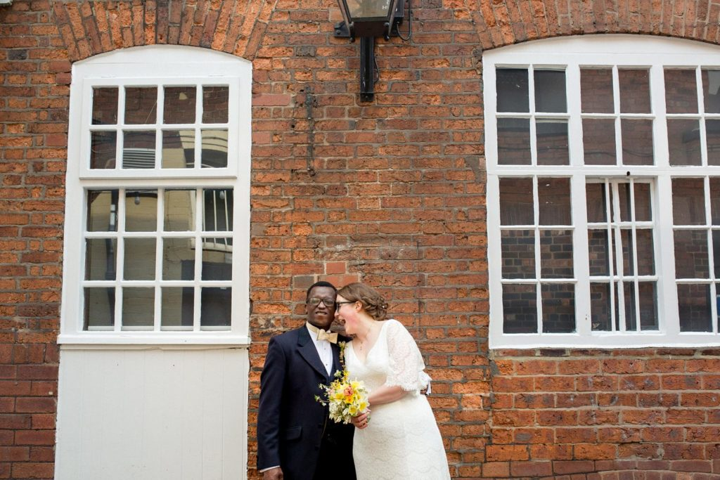 fun and natural wedding portrait in leeds city centre