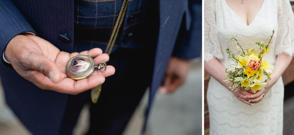 star trek pocket watch, and owl flowers wedding bouquet against glory days vintage dress