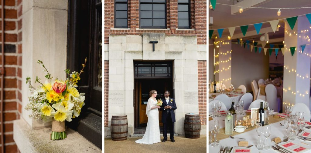bride and groom outside the tetley wedding venue and their owl flowers