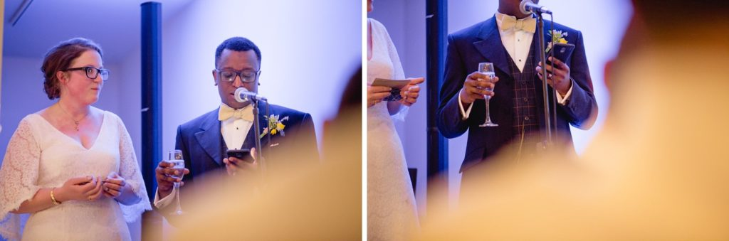 cool and modern bride and groom reading their speech at the tetley in leeds city centre