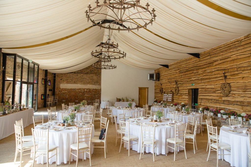 the barn at hornington manor setup for wedding