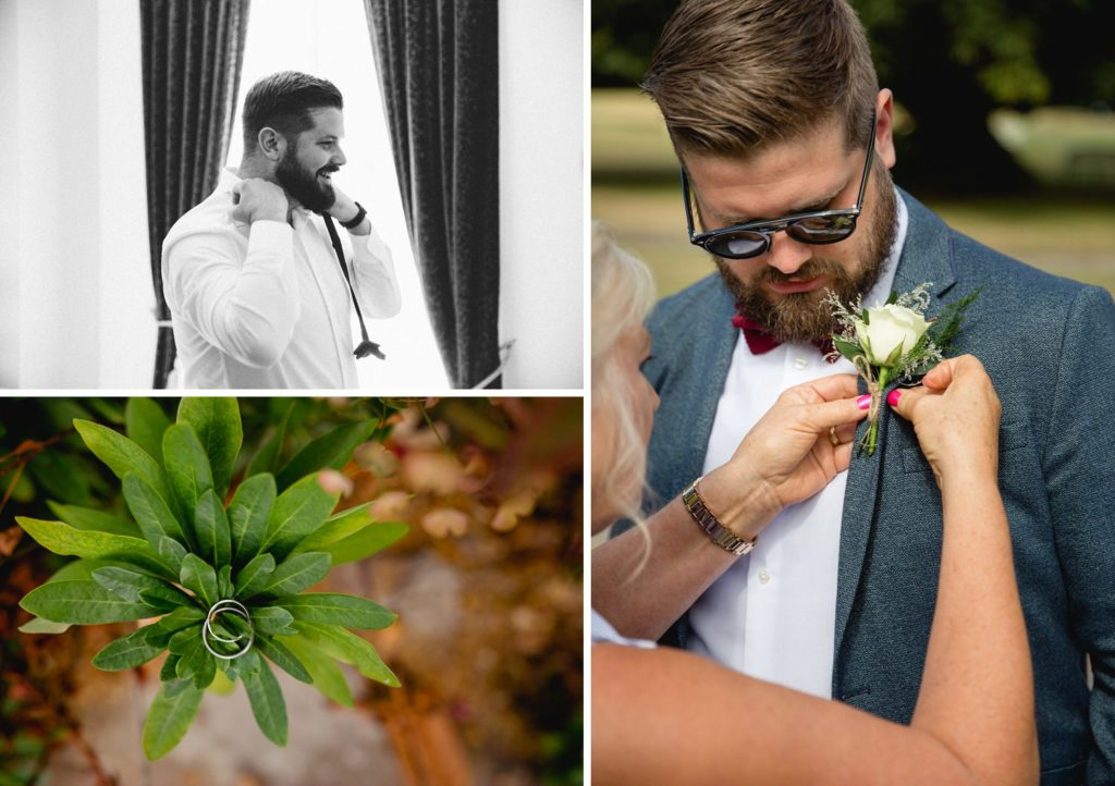 natural photos of groom getting ready before his wedding