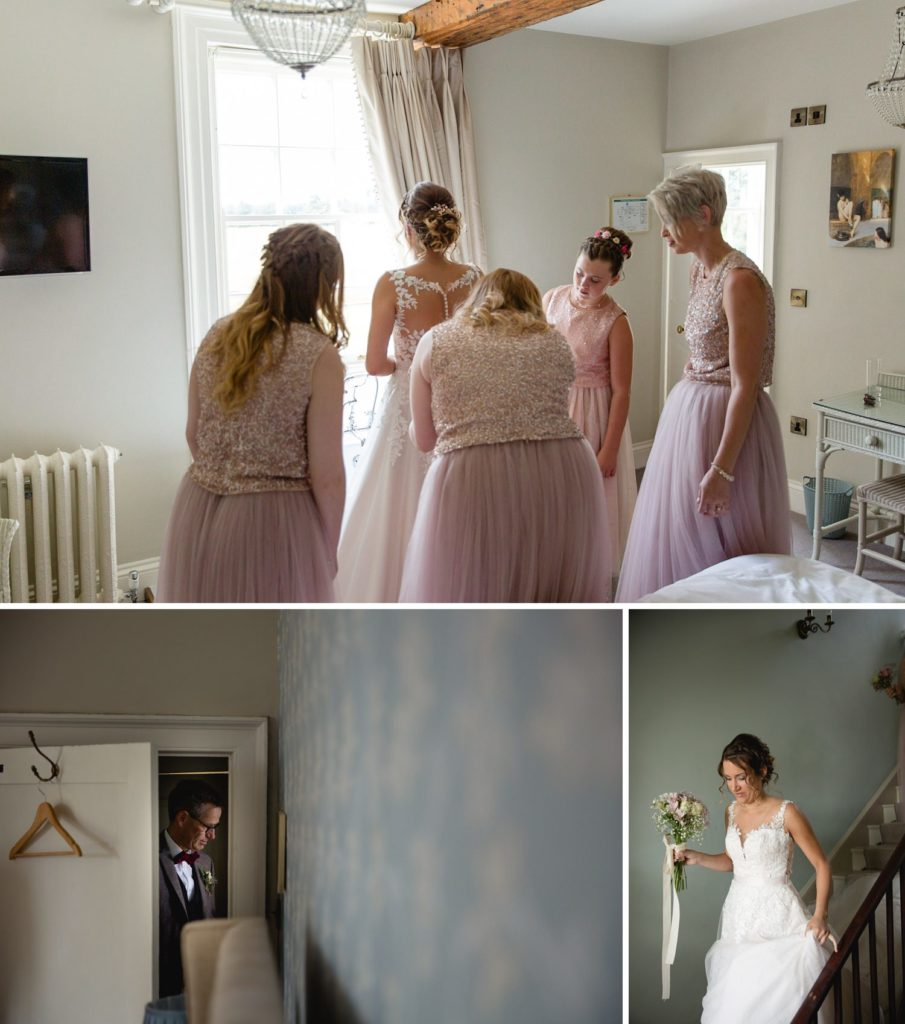 bride and bridesmaids getting ready just before wedding at manor in york