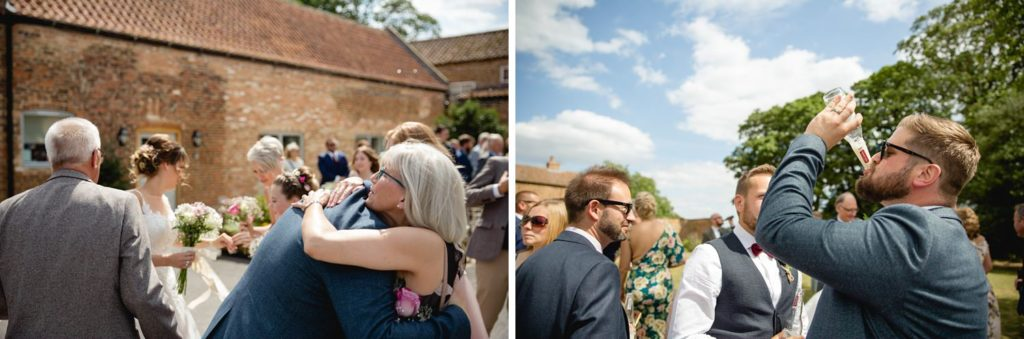 documentary wedding photography details of guests having fun in york