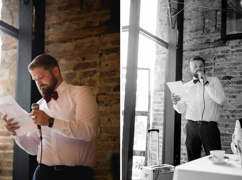 modern photos of groom reading his speech in rustic venue