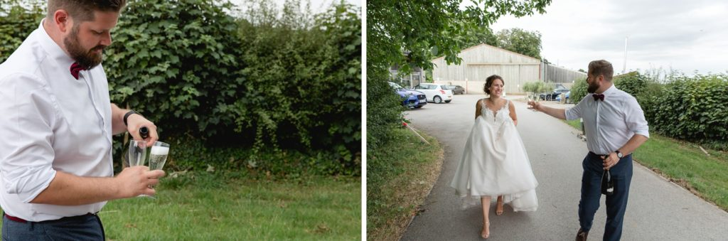 fun natural photos of couple on the way to have portraits