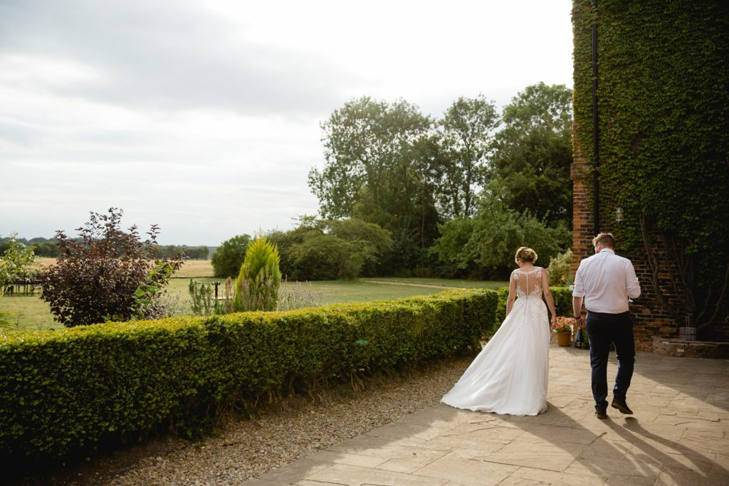 bride and groom after their outdoor wedding at hornington manor