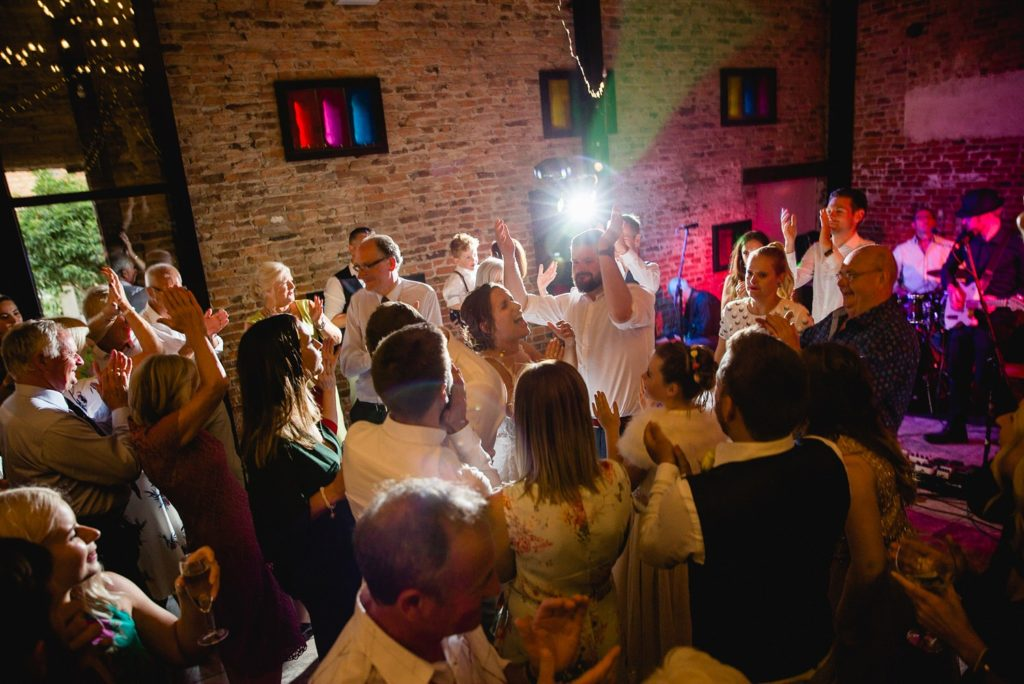wedding guests on the dancefloor at hornington manor near york